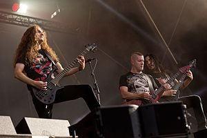 Annihilator (band) - Annihilator at Rockharz Open Air 2016 in Germany. From left to right: Rich Hinks, Jeff Waters, and Aaron Homma.