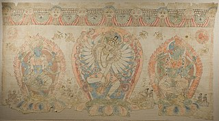 Tantric Temple Banner of a Dancing Goddess Flanked by Dakinis