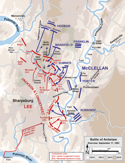 Overview of the Battle of Antietam Antietam Overview.png