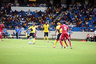Antigua and Barbuda national football team - Kerry Skepple about to score the game-winning goal versus Haiti on November 11th, 2011 to advance to the third round of CONCACAF World Cup qualifying.
