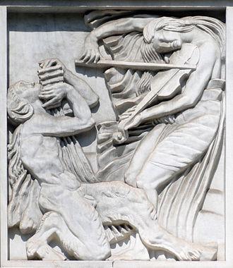 Antoine Bourdelle - La Musique, 1910-12, bas-relief, 177 x 152 cm, Théâtre des Champs-Élysées, Paris