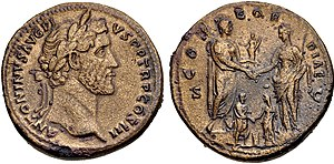 Coin commemorating the betrothal of Marcus Aurelius to his eventual wife Faustina