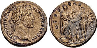 Marcus Aurelius - Sestertius of Antoninus Pius (AD 140–144). It celebrates the betrothal of Marcus Aurelus and Faustina the Younger in 139, pictured below Antoninus, who is holding a statuette of Concordia and clasping hands with Faustina the Elder.
