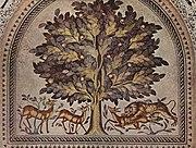 Мозаика Омейядов дворца Хишама[en] близко следует классическим традициям
