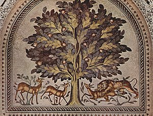 "Hisham's Palace - The  ""Tree of Life"" mosaic in the audience room of the bath house."