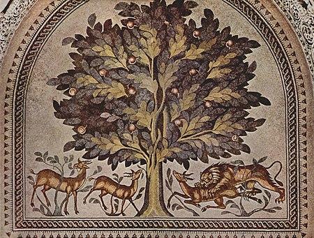 Яблоня с газелями и львами. Византийская напольная мозаика, 724—743гг.