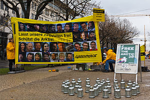 Greenpeace Arctic Sunrise ship case - Vigil for the release of the Arctic 30 in front of the Russian embassy in Berlin