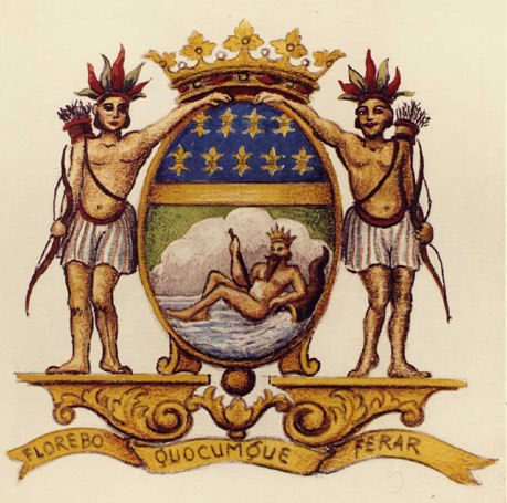 "The French East India Company's coat of arms, with its moto : ""Florebo quocumque ferar"" (i will flourish wherever I will be brought."""