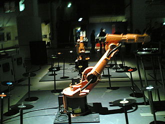 """Robotic art - Two robot arms act as DJs in """"Juke Bots"""", an installation created by RobotLab"""