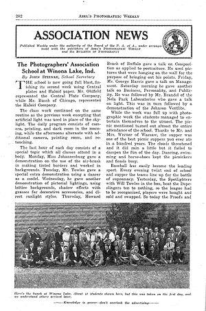 Professional Photographers of America - PAA newsletter from 1922