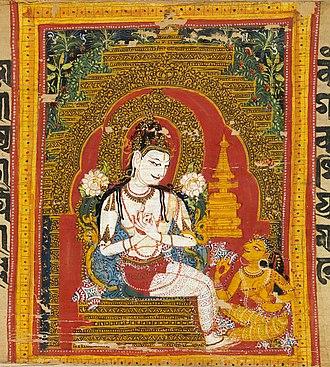 Tushita - Maitreya Bodhisattva in Tusita. Palm-leaf manuscript. Nalanda, Bihar, India