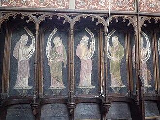 Astley, Warwickshire - Image: Astley church choir stall frescoes