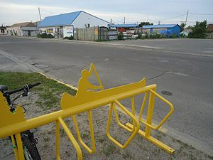"Atikokan - A bike rack in Atikokan, Ontario. Because the town is considered the ""Canoeing Capital of Canada"", many canoe symbols are seen around town."