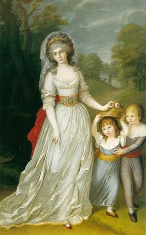 Princess Augusta Wilhelmine of Hesse-Darmstadt - Portrait of Princess Augusta Wilhelmine with her children Ludwig and Augusta.