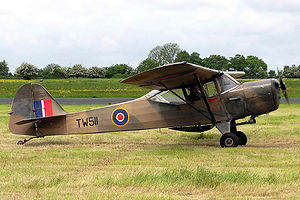 Hammerwood Park - A postwar Auster Mk V, of the type based at Hammerwood from November 1943, in wartime colours
