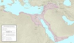 Sultanat ayyoubide d'Égypte (en rose) à la mort de Saladin en 1193