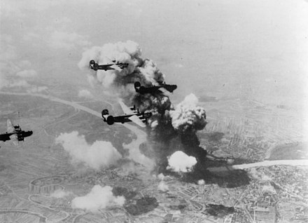 Bratislava was bombarded by the United States Army Air Forces, occupied by German troops in 1944 during World War II. B-24 Liberators over Bratislava, Slovakia on 16 June 1944.jpg