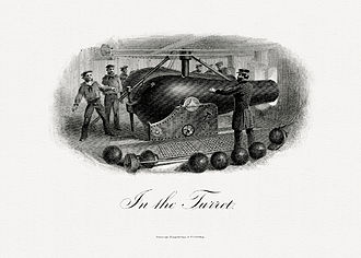 Naval artillery - In the Turret, a vignette depicting naval artillery by the Bureau of Engraving and Printing (c. before 1863).