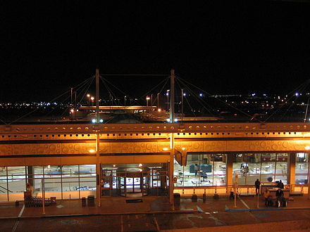 The Birmingham-Shuttlesworth International Airport terminal and the former Concourse C at night as viewed from parking deck BHM terminal at night IMG 9885.JPG