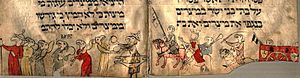 Aniconism - An illustration from the Birds' Head Haggadah, c. 1300, illustration of the Book of Exodus. The fleeing Jews are depicted with birds' heads, while Pharaoh and most of the pursuing Egyptians have blank circles with or without eyes as heads; two of them, however, have bird's heads.  The Judenhut hats are typical of 14th-century Germany.