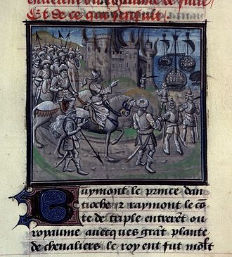 William of Tyre - Saladin burning a town, from a manuscript of the French translation of the Historia