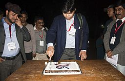 BNWIKI10-Ayan Chowdhury with Cake-Wikipedia 10th Anniversary Celebration