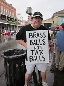 BP Oil Flood Protest NOLA Brass Balls Spud.JPG