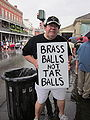 BP Oil Flood Protest NOLA Brass Balls Spud.JPG