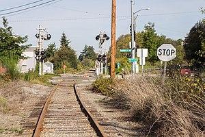 Ballard Terminal Railroad - A Ballard Terminal Railroad crossing about ten blocks south of where these tracks join the BNSF Railway