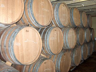 Lambic - Wooden lambic barrels at Hanssens