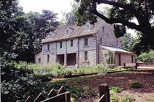 Philadelphia lawns, gardens: East facade of John Bartram House, Ba...