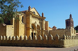 The Gothic Cathedral of Santa Maria la Menor, Santo Domingo, is the oldest cathedral in the Americas, built between 1514-1541 Basilica Menor de Santa Maria SD RD 02 2017 1941.jpg