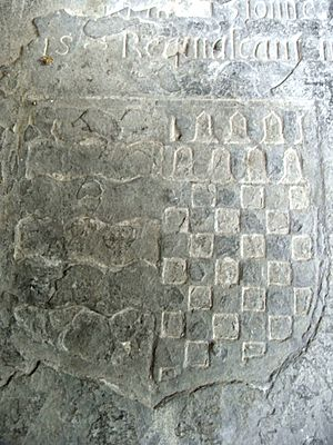 Arthur Bassett (died 1586) - Slate slab on top of chest tomb in Atherington Church, Devon, of Sir Arthur Basset (1541-1586) shows arms of Basset impaling Chichester