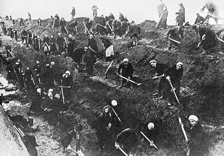 With all the men at the front, Moscow women dig anti-tank trenches around their city in 1941 Battle of Moscow.jpg