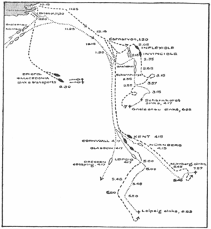 The German ships approached the islands from the south before turning back to the south to try to escape, but each ship was chased down and sunk except Dresden, which escaped.