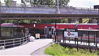 O-Train - Bayview's platform is at the northern terminus of the original line.