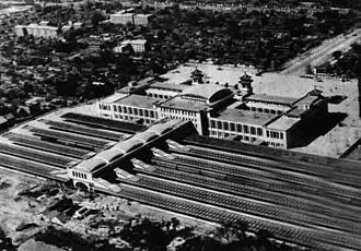 Beijing railway station - Aerial view of the Beijing Railway Station in 1959.