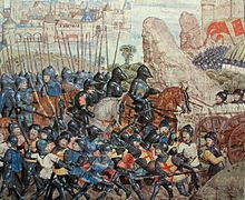 A painting of late Medieval knights advancing to battle