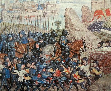 Armies of the Middle Ages consisted of noble knights, rendering service to their suzerain, and hired footsoldiers Belagerung von Calais 1346-1347.JPG