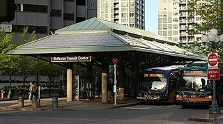 Bellevue Transit Center Bus station and future light rail station in downtown Bellevue, Washington