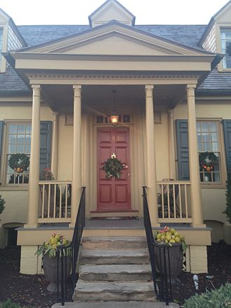 Belmont Estate - The front entrance of the mansion, decorated for the holiday season