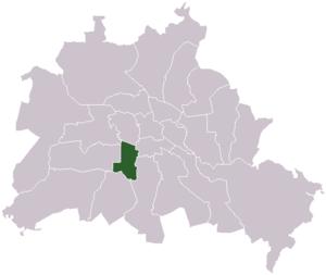 Lage des ehemaligen Bezirks Schöneberg in Berlin