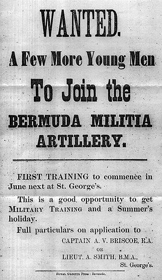 Bermuda Militia Artillery - An 1895 recruiting advert for the Bermuda Militia Artillery, printed in The Royal Gazette.