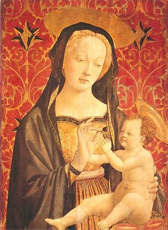 Bianca Maria Visconti - Bianca Maria Visconti with her first-born son Galeazzo as Saint Mary with the child Jesus Christ.