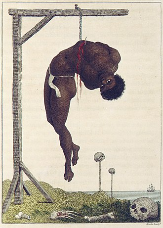 "Impalement - ""A Negro Hung Alive by the Ribs to a Gallows,"" by William Blake.  Originally published in Stedman's Narrative."