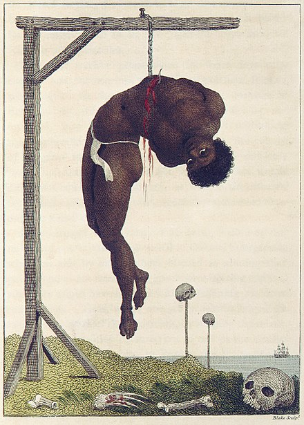 "Blake's ""A Negro Hung Alive by the Ribs to a Gallows"", an illustration to J. G. Stedman's Narrative, of a Five Years' Expedition, against the Revolted Negroes of Surinam (1796) Blake after John Gabriel Stedman Narrative of a Five Years copy 2 object 2-detail.jpg"