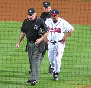 Bobby Cox - Bobby Cox following an ejection from a game in September 2009.