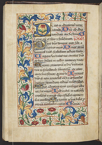 """Psalm 110 - Introduction to Vespers and beginning of the psalm, """"Dixit Dominus"""", in a Book of Hours"""