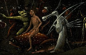 Bosch, Hieronymus - The Garden of Earthly Delights, right panel - man riding on dotted fish and bird creature.jpg