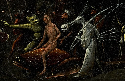 Bosch, Hieronymus - The Garden of Earthly Delights, right panel - man riding on dotted fish and bird creature